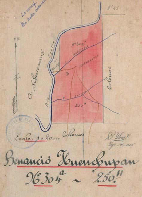 Título de Merced comunidad Benancio Huenchupan, luego de la reducción de Lof al título de merced. AGAI Archivo General de Asuntos Indigenas (CONADI)