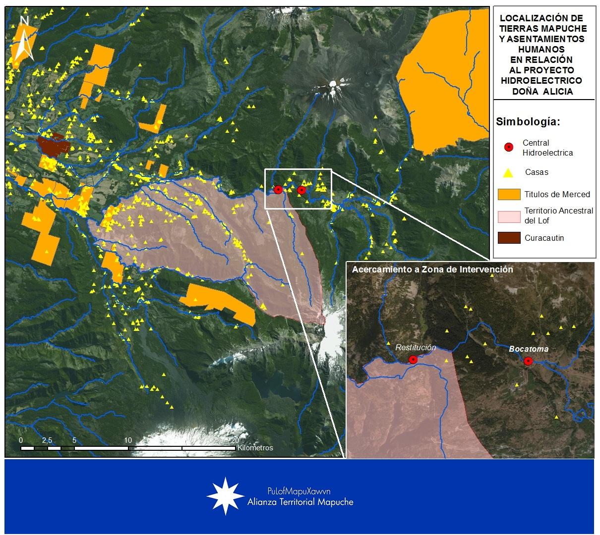 Proceso de reconstrucción del mapa del Lof Hueñivales al que corresponde el título de Merced de la imagen de arriba (ATM)