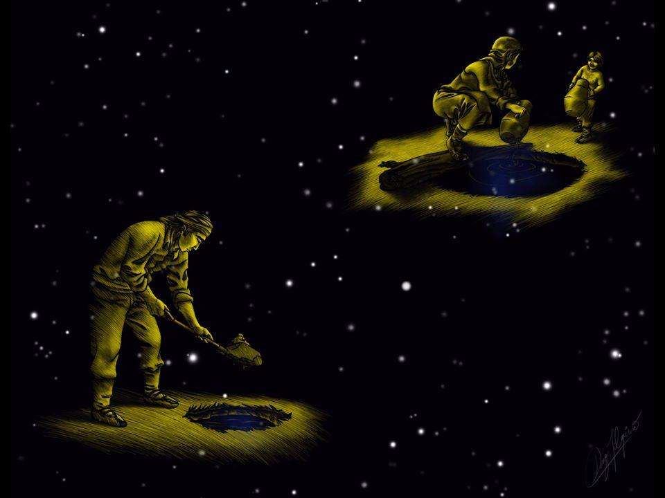 """Imagen del libro """"Wenumapu. Astronomía y Cosmología Mapuche"""" de Margarita Canio y Gabriel Pozo. Ilustración de Ramon Daza"""
