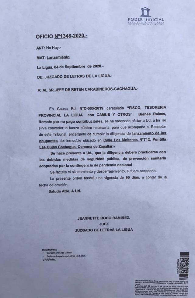 Oficio del Juzgado de Letras de La Ligua. Ordena remate de bien raiz.