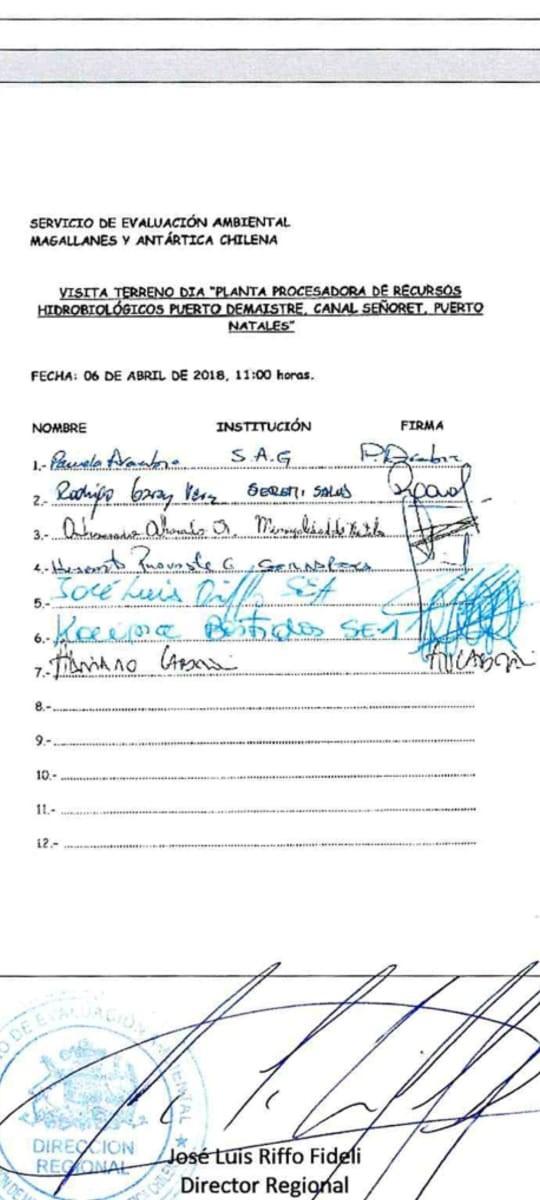 Acta de visita firmada por Bastidas como funcionaria del SEA cuando representaba a la salmonera Australis