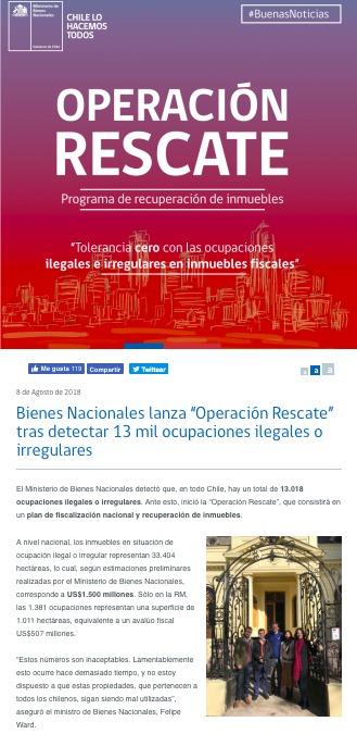 La publicación original del sitio web del Ministerio de Bienes Nacionales, el 8 de agosto de 2018.