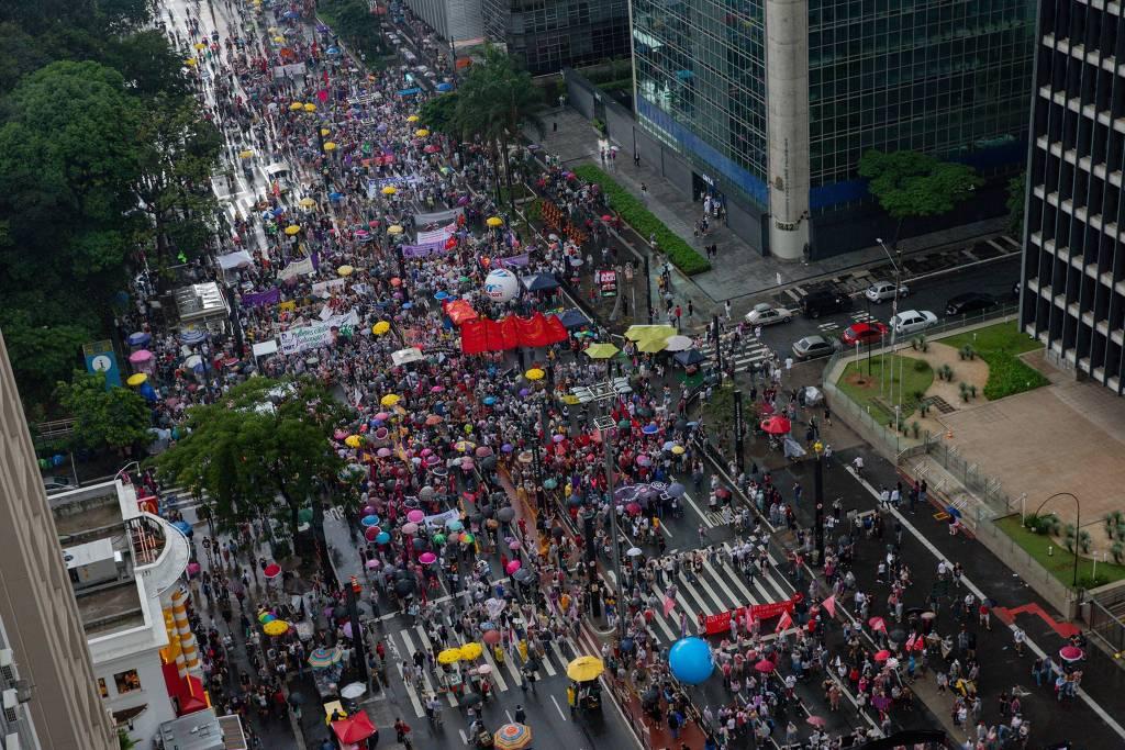 Marcha en Sao Paulo. Foto: Bruno Santos / Folhapress.