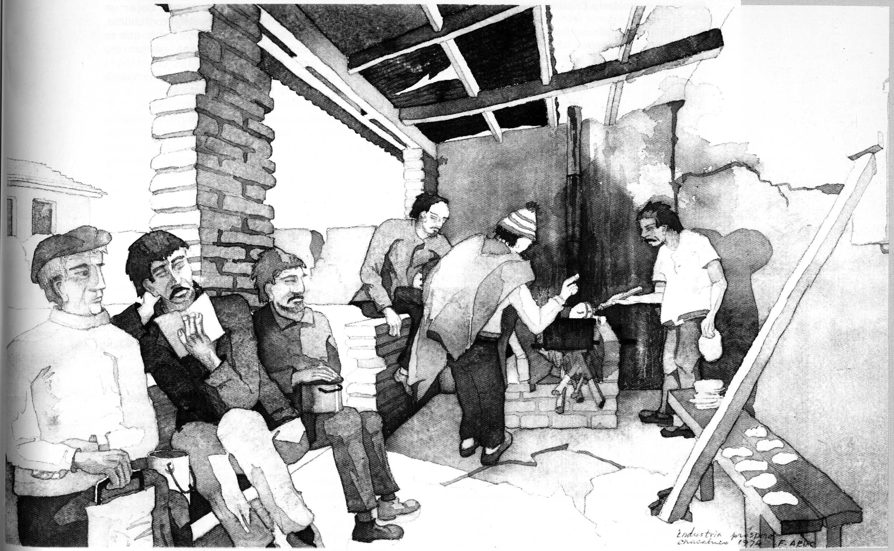 Campo de prisioneros de Chacabuco. Acuarela del arquitecto Francisco Aedo, detenido desaparecido
