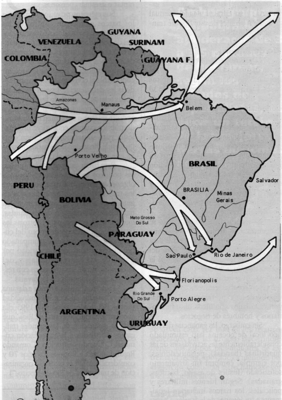 Rutas del tráfico por Brasil.