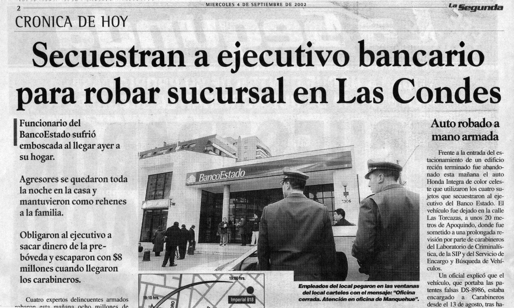 Secuestro de empleados bancarios en Chile.