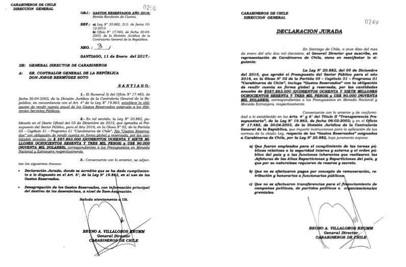 Rendición de Gastos Reservados de Bruno Villalobos en 2017