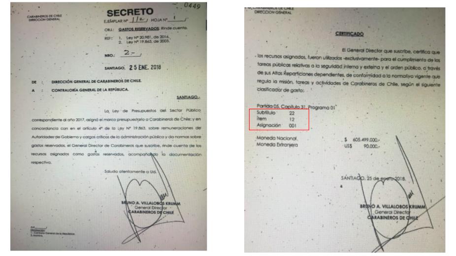 Rendición de Gastos Reservados de Bruno Villalobos en 2018