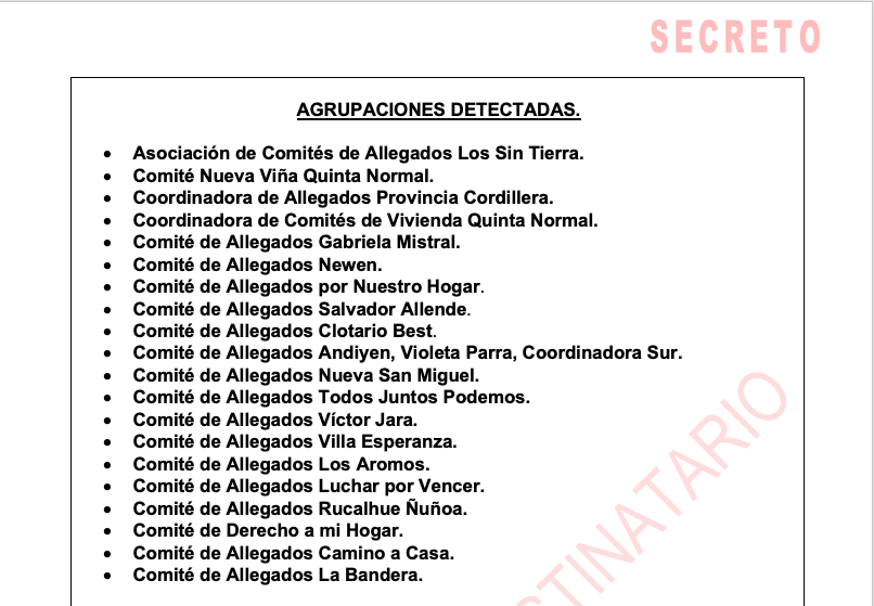 Listado de las agrupaciones mencionadas en el informe