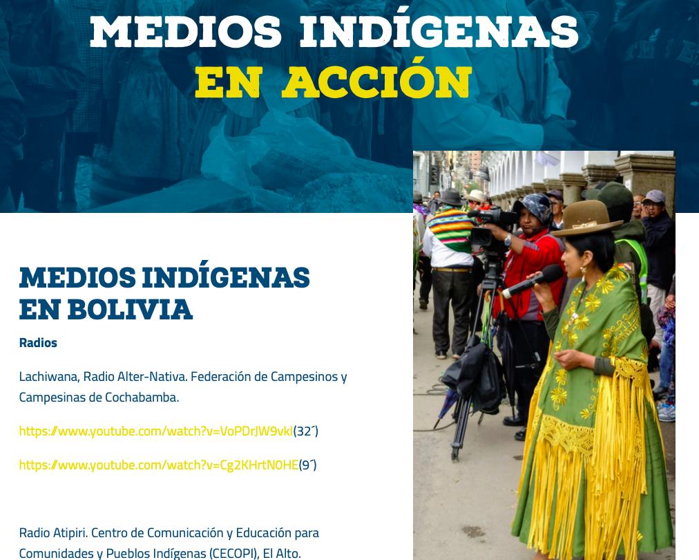 Captura del sitio web Medios Indígenas