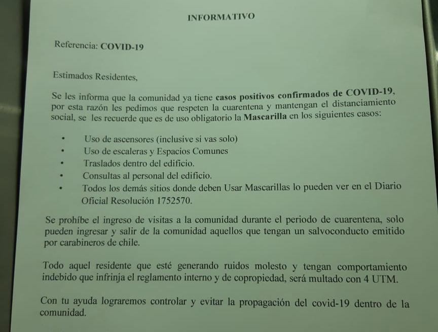 Circular sobre medidas adoptadas por Covid-19 en un edificio.