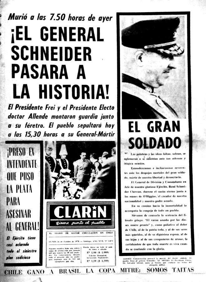 Así cubrió el diario Clarín (de izquierda) el asesinato del general René Schneider