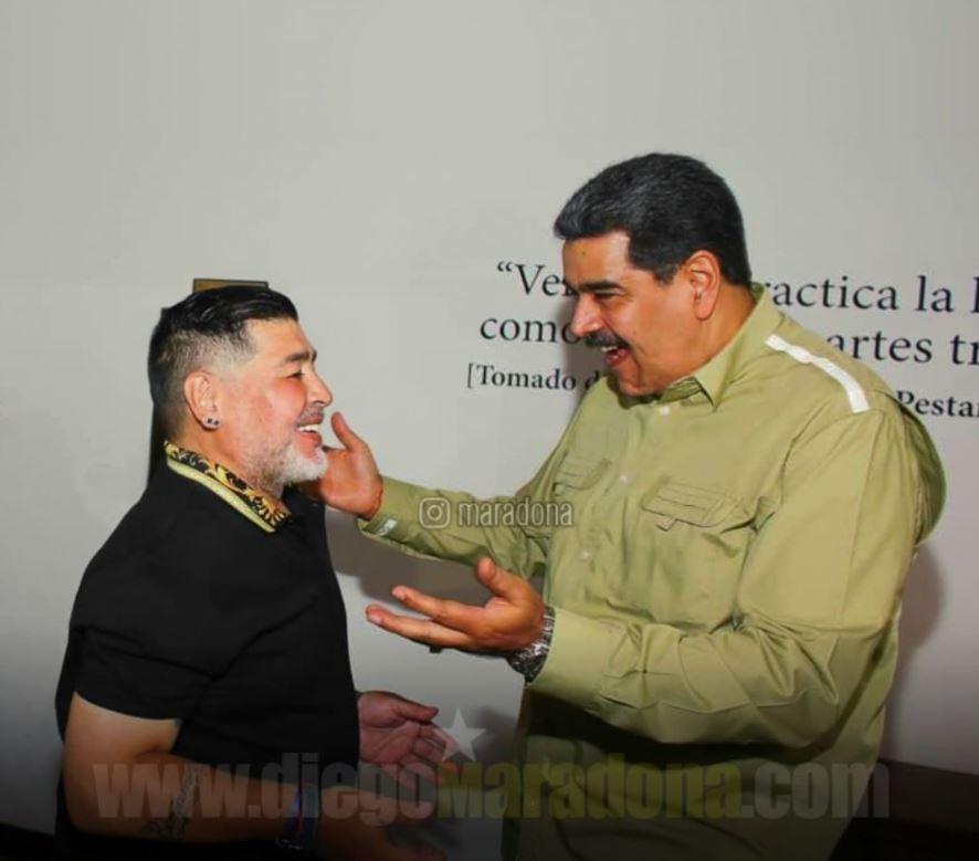 Maradona junto al presidente venezolano, Nicolás Maduro