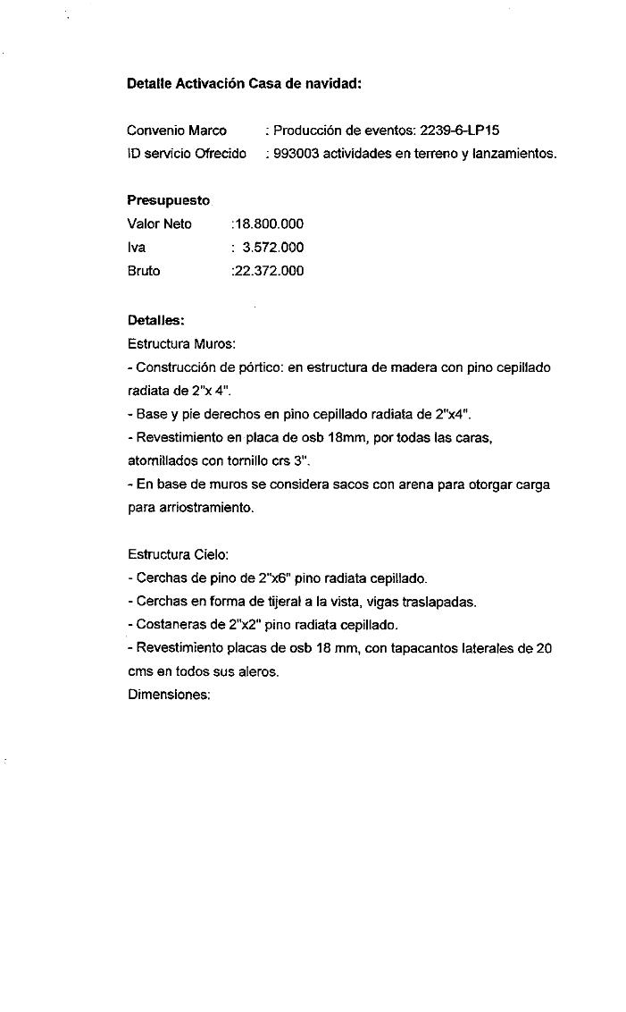 Detalle de la cotización de la 'casa de jengibre', obtenido del Decreto Alcaldicio por el cual se contrata a Street Machine