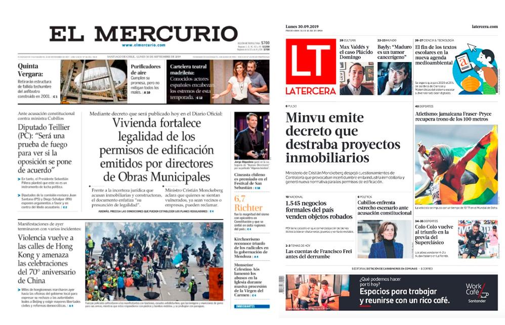 Las portadas de El Mercurio y La Tercera destacan la publicación del decreto en sus portadas de este lunes 30 de septiembre.