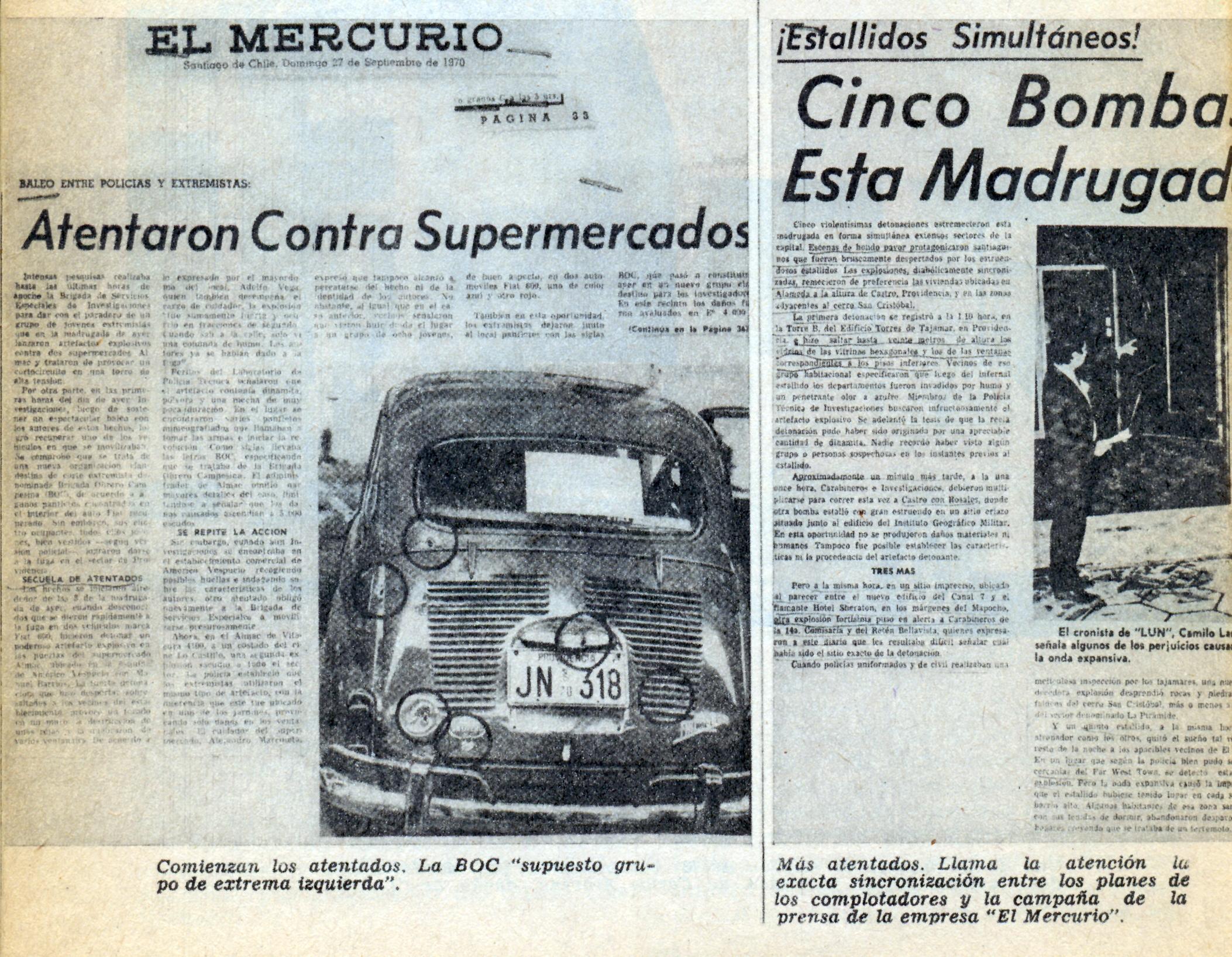 El Mercurio informa sobre los atentados.