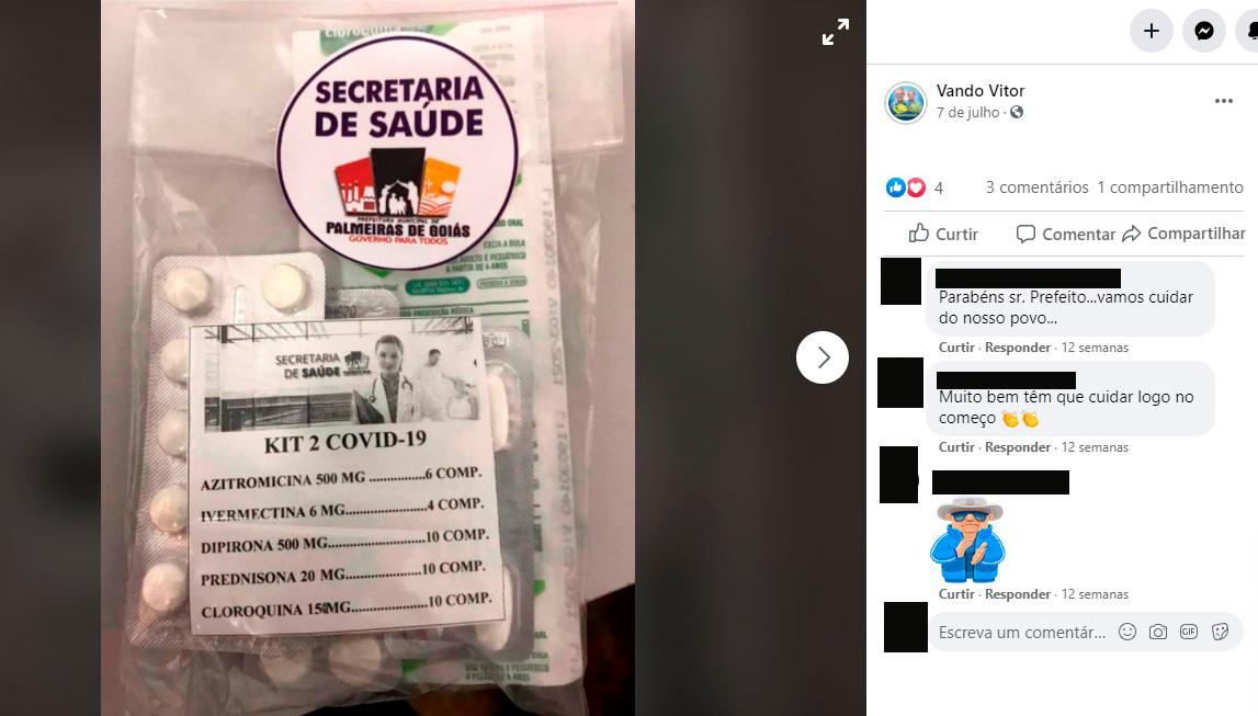 En Palmeiras de Goiás (GO) se ensamblaron dos tipos diferentes de Kit Covid, uno para profilaxis y otro para tratamiento temprano. (Reproducción / Facebook)