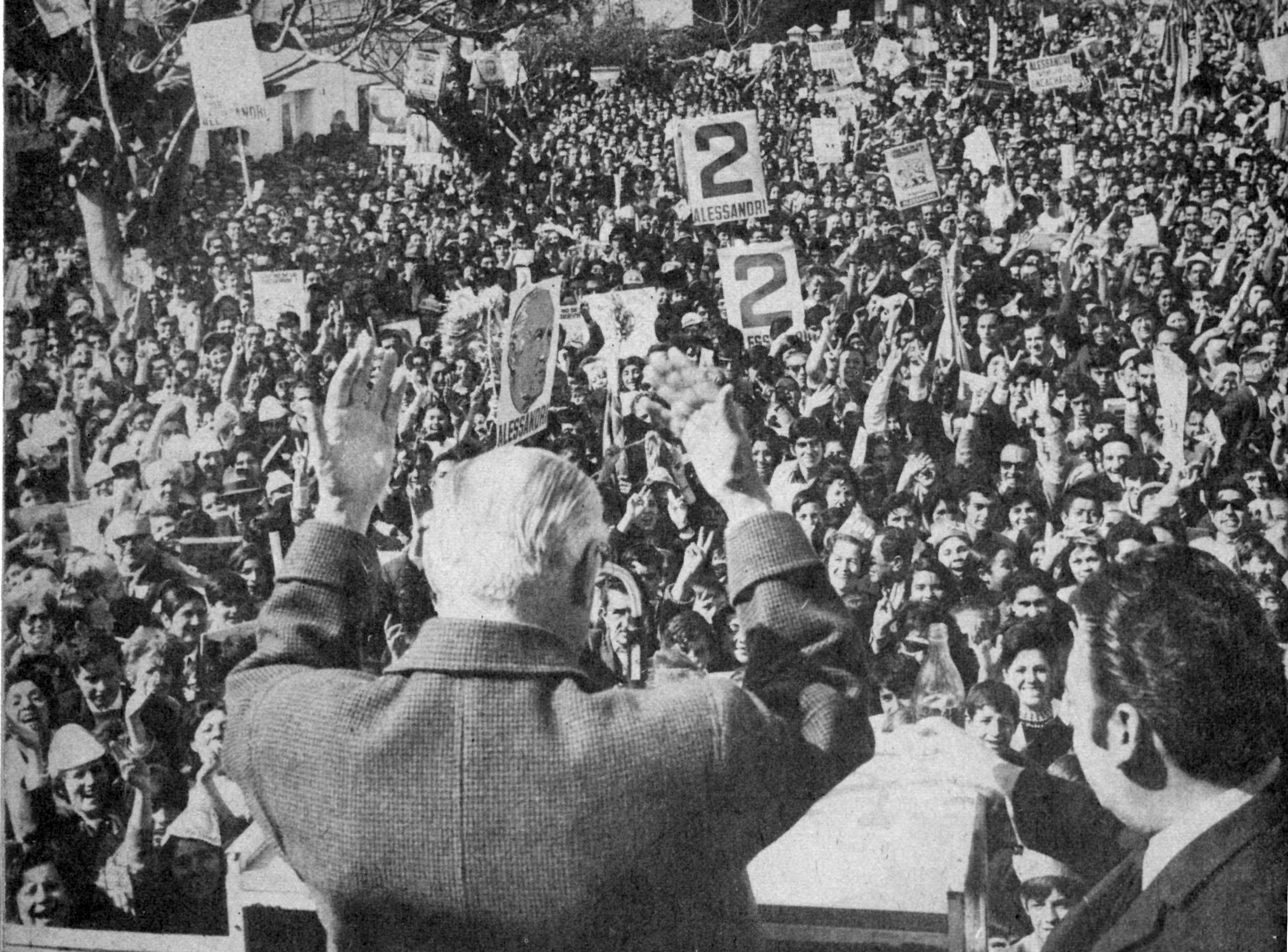 Jorge Alessandri durante la campaña de 1970