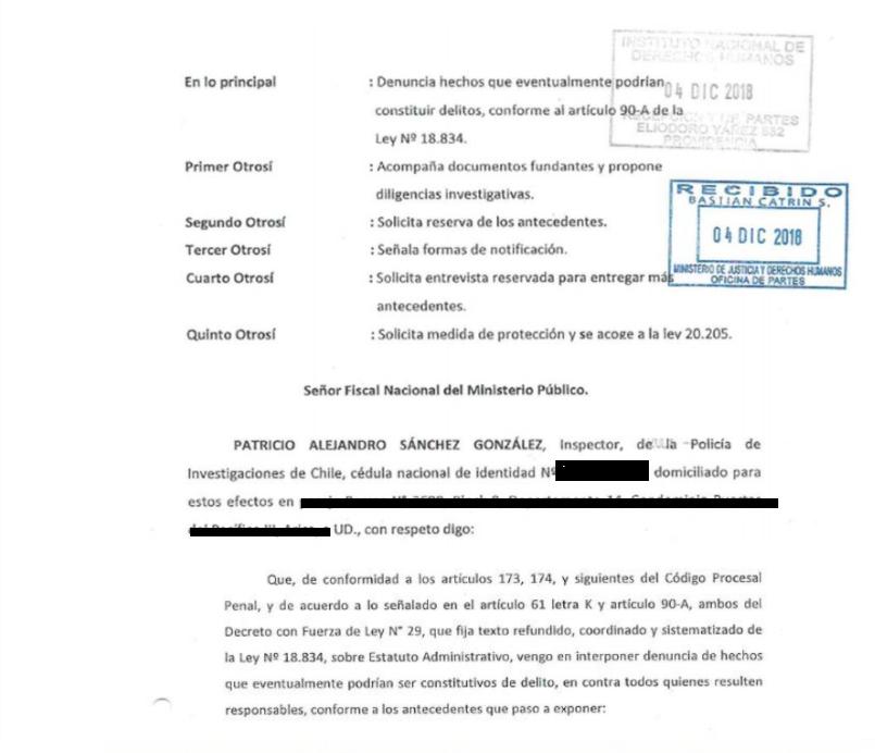 Primera página de la primera denuncia entregada al Fiscal Nacional Jorge Abbot por el detective Patricio Sánchez