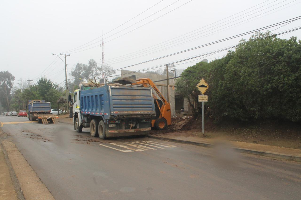 Construcción de la casa de Magdalena Piñera Morel en Cachagua. Viernes 3 de julio de 2020. Foto: Francisco Velásquez / Interferencia