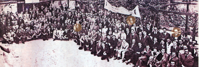 En esta fotografía de la Falange aparecen, entre otros, Bernardo Leighton, en el círculo de la izquierda; Eduardo Frei, arriba al medio, y Jaime Castillo, al costado derecho.