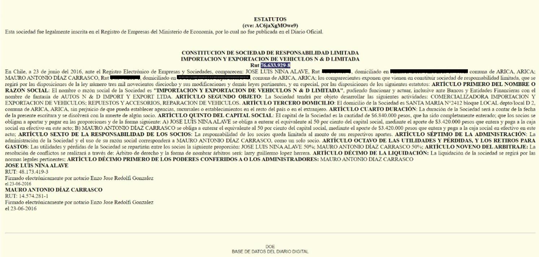Constitución de la sociedad de Mauro Díaz y José Nina.
