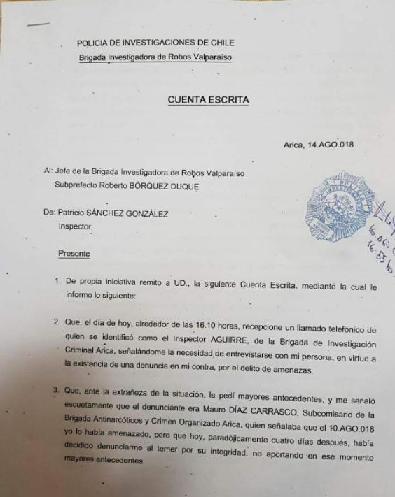 Cuenta escrita en la cual el detective Sánchez denuncia ofrecimiento de 300 millones de pesos por su silencio de parte de otro funcionario de la institución, la denuncia se acompaña con evidencia de llamada recibida por WhatsApp.