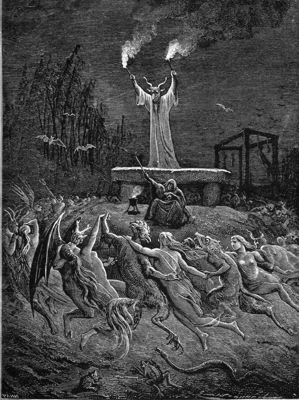 Grabado en madera de Gustavo Doré que ilustra el juicio a una bruja de Salem, Massachussets, en el siglo XVII, por usar planas alucinógenas.