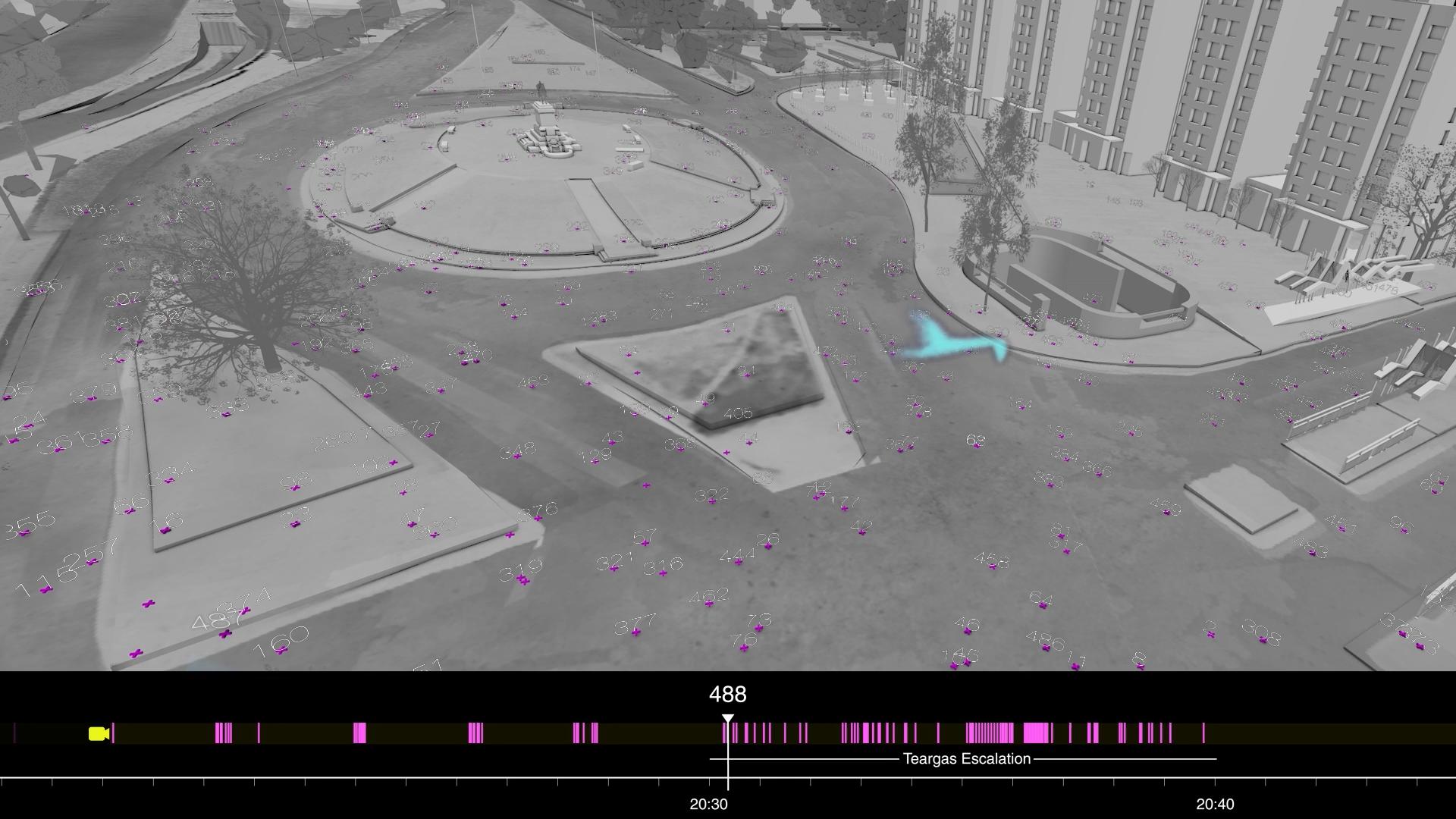 En cruces moradas, todas las lacrimógenas lanzadas en Plaza Dignidad el 20/12/2019. Fuente: Forensic Architecture