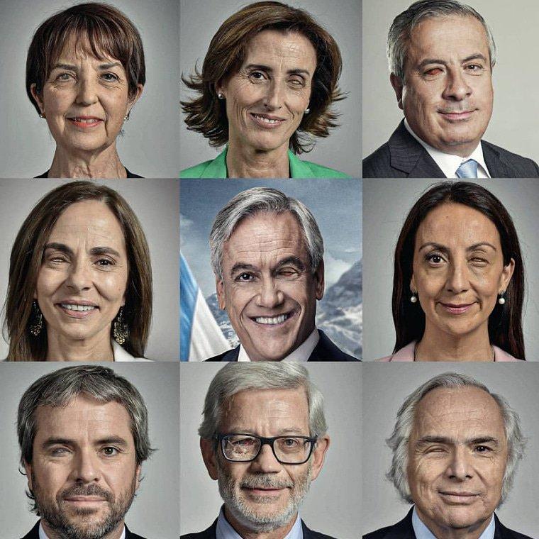 Intervención a fotos del gabinete presidencial con pérdida ocular creada por artistas de la empresa 'Soul Design'.