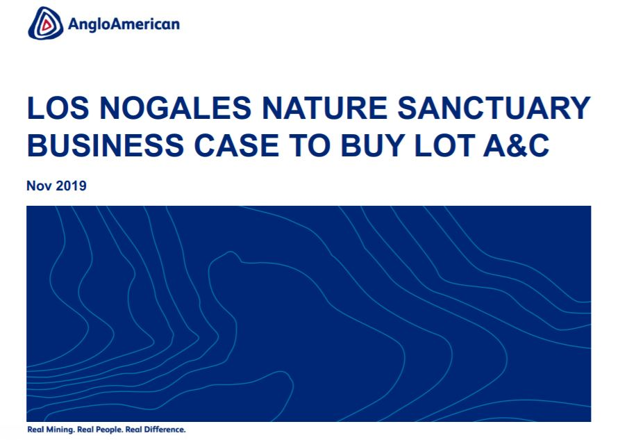 Presentación interna de Anglo American para evaluar comercialmente la compra del santuario