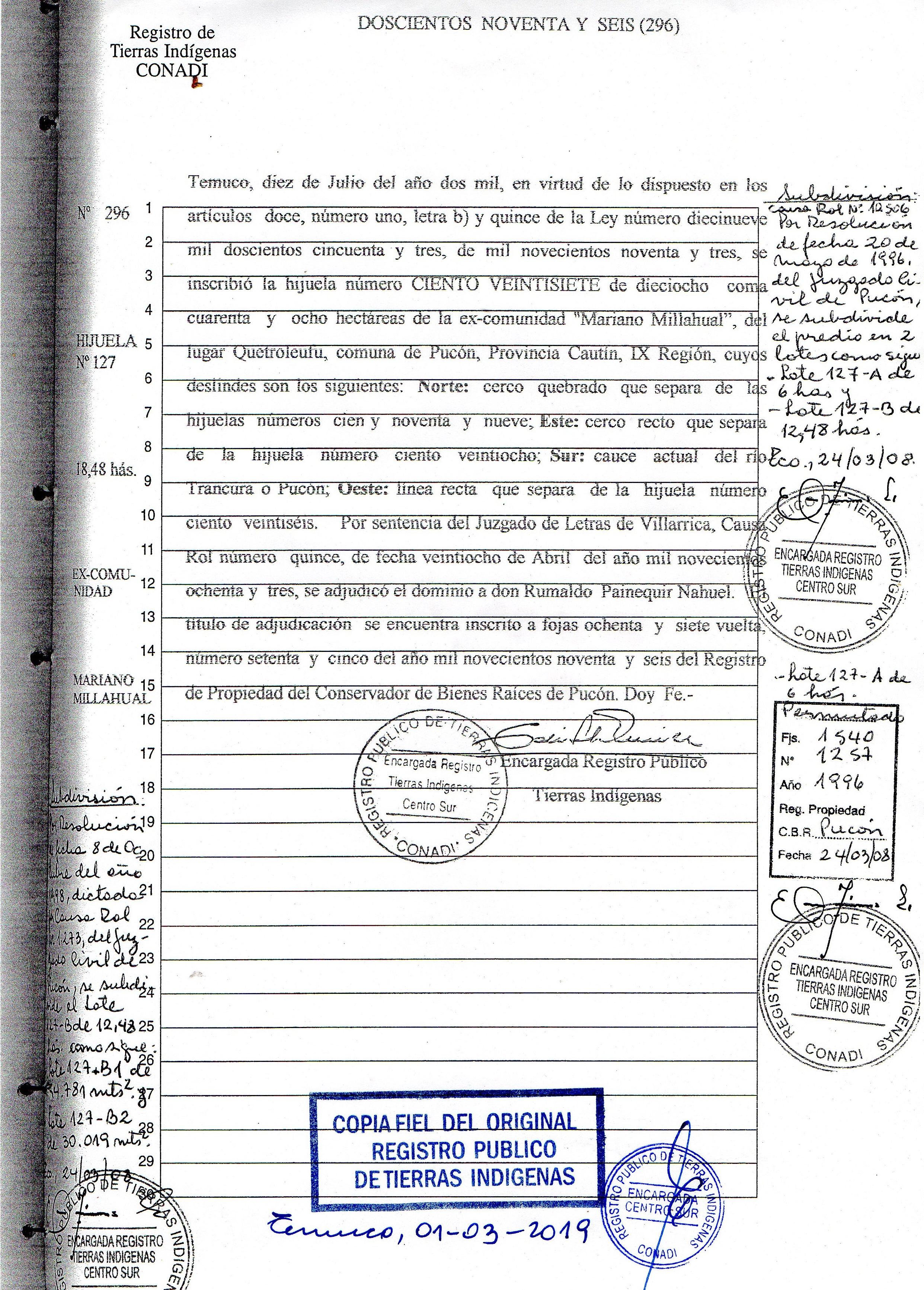 Inscripción de la Hijuela 127 a nombre de Rumaldo Painaquir en el Registro Público de Tierras Indígenas / Interferencia