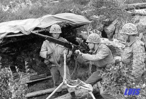 Infantes chilenos en sus posiciones fronterizas