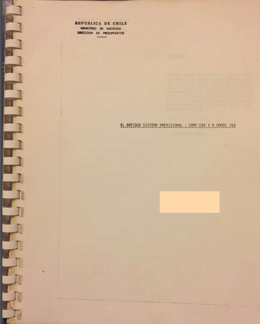 El antiguo sistema previsional cómo era y a dónde iba, Dipres, 1980.