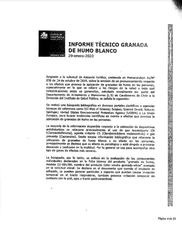 Informe del Instituto de Salud Pública, obtenido vía Ley de Transparencia