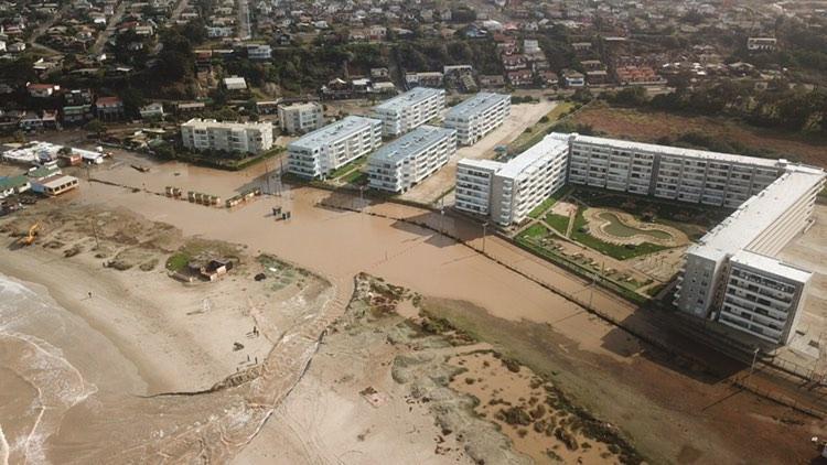 Inundación de la calle Hermanos de la Costa en Los Molles del 03 de julio 2020