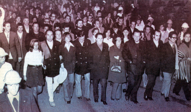La jefatura de Patria y Libertad durante una marcha en Temuco en mayo de 1973