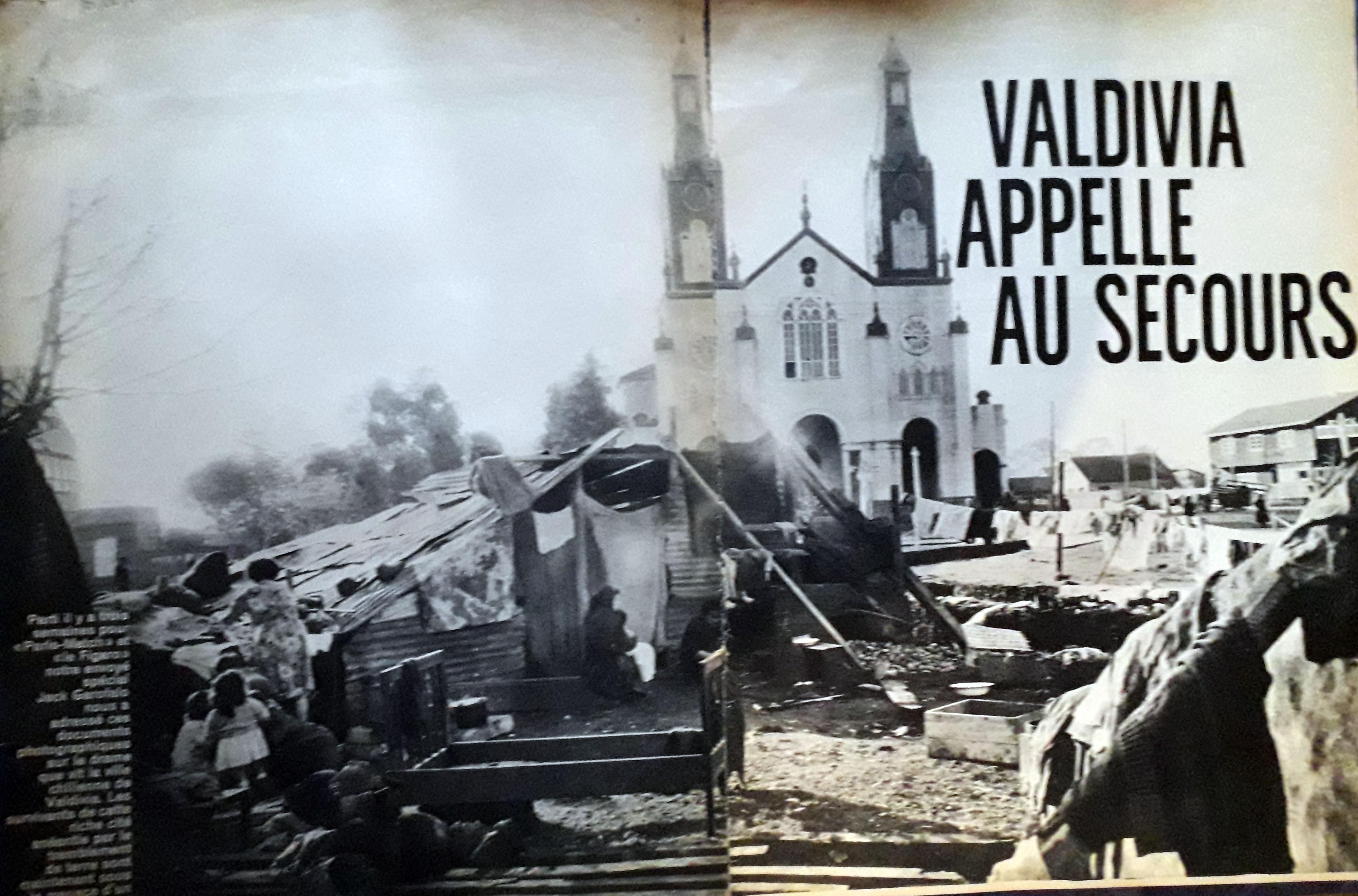 """La revista francesa Paris Match publicó esta foto de la plaza de Castro, en Chiloé, con la lectura """"Valdivia pide ayuda"""""""