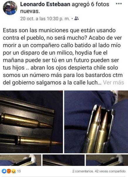 Publicación de Quilodrán en redes sociales - Fotografía publicada originalmente en periódico Resumen.