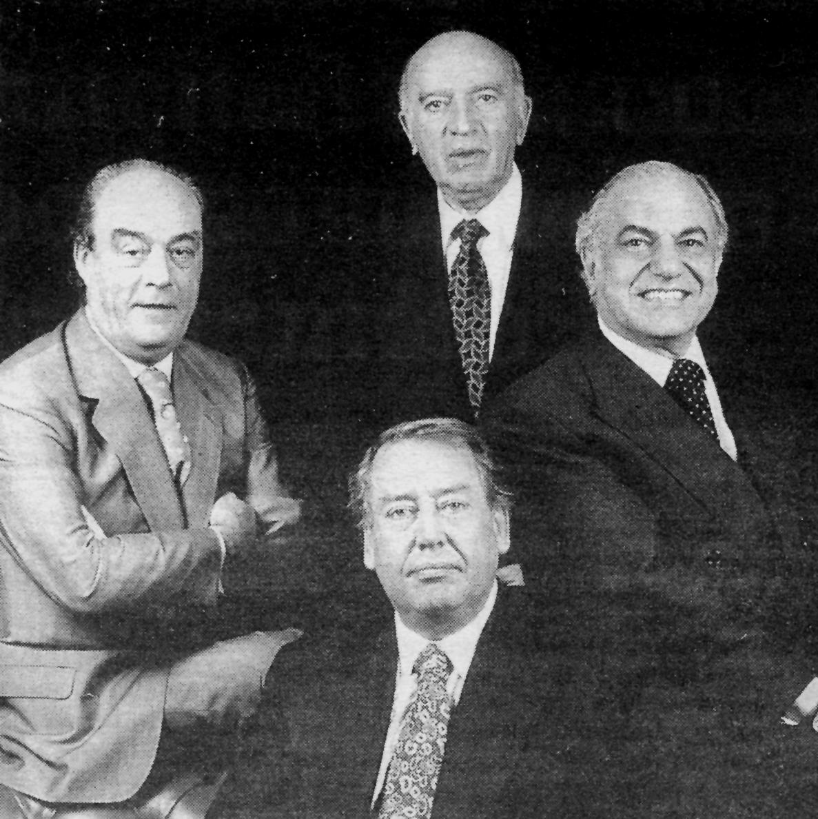 Los socios de Embotelladora Andina: Sentado; José Antonio Garcés. Arriba de izquierda a derecha; Alberto Hurtado, Jaime Said Demaría y José Said Saffie