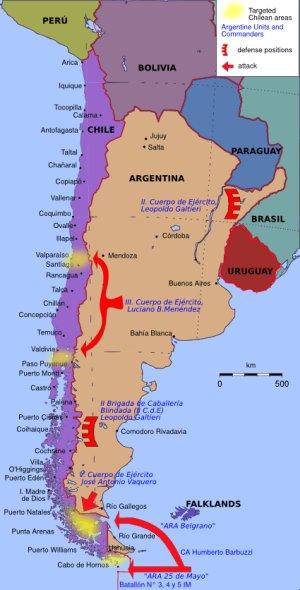 Mapa de los preparativos argentinos