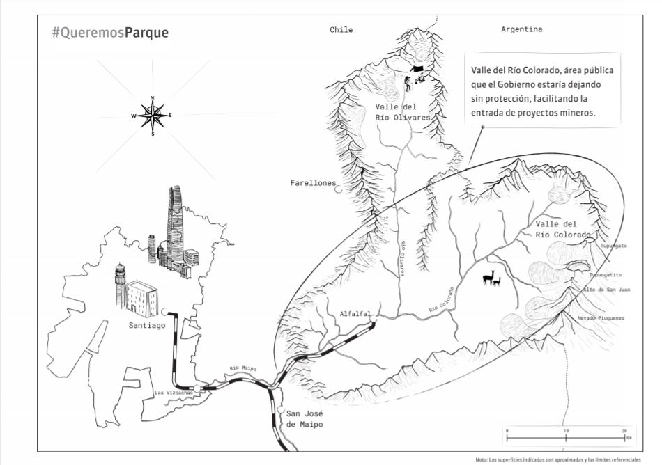 Mapa del parque publicado por Queremos Parque en inserto de La Tercera