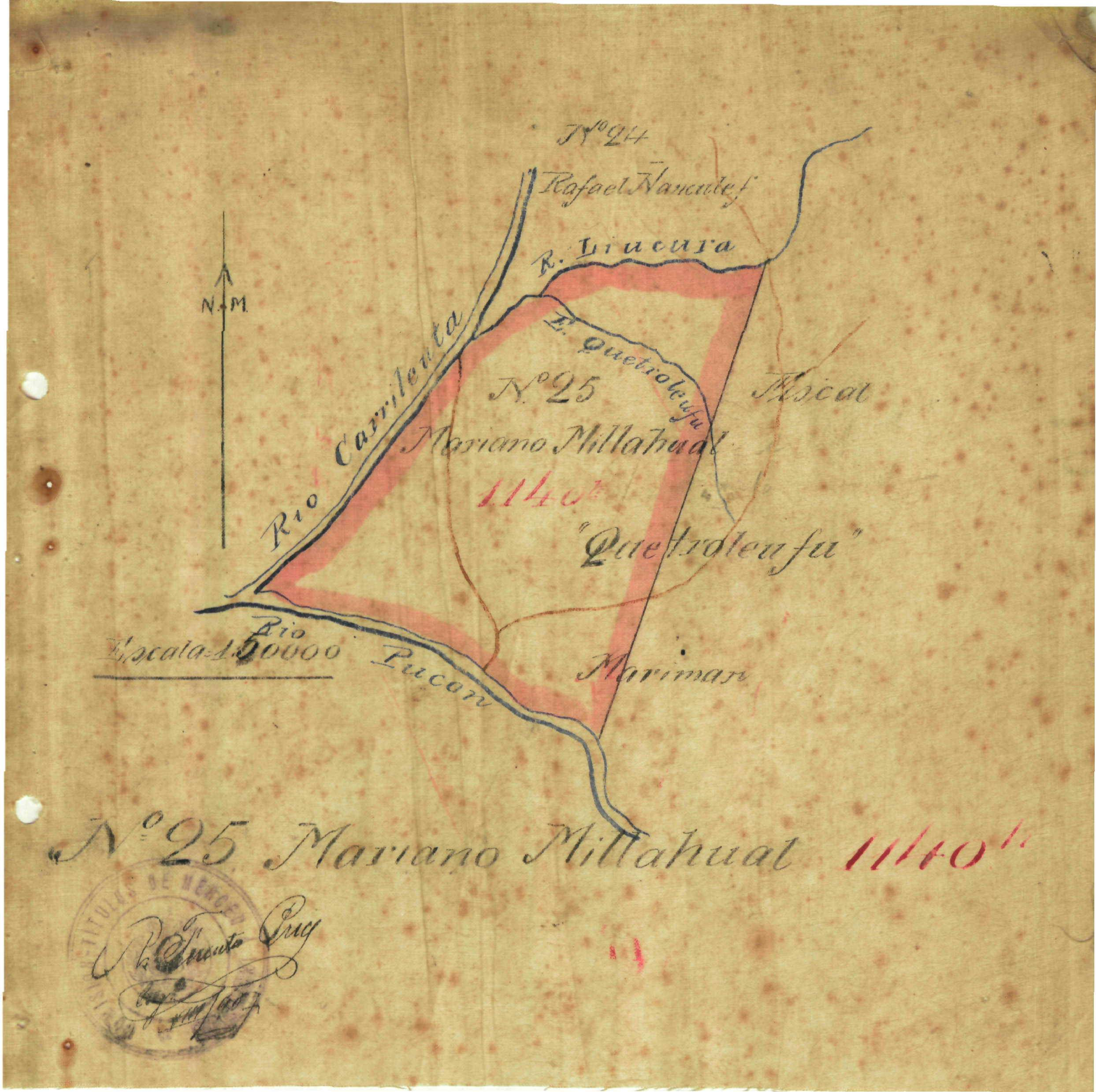 Mapa del terreno de la Comunidad Mariano Millahual en 1908 / Interferencia