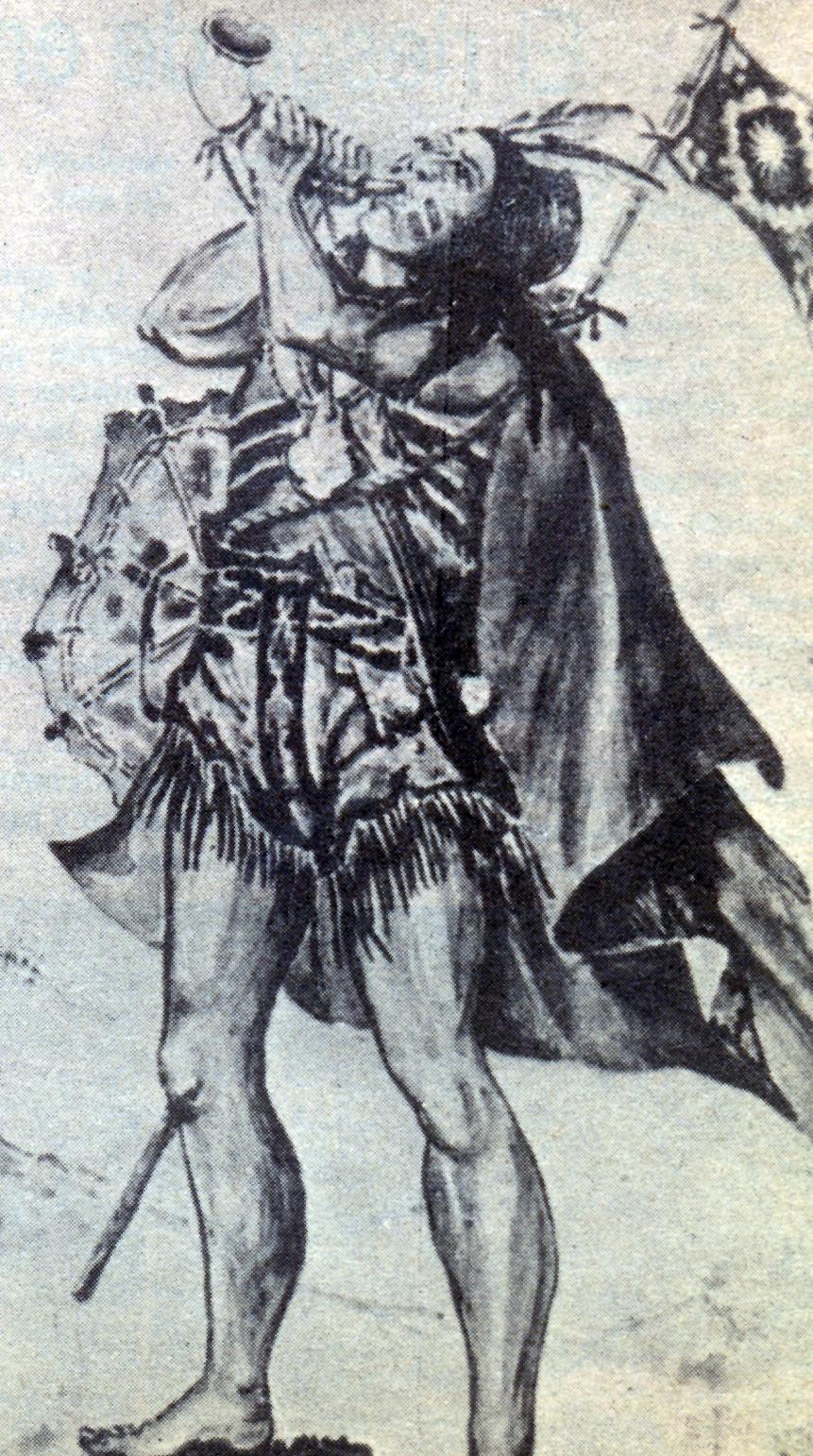 El toqui Pelantaru. Guerrero de la conquista. Ilustración del libro del mismo nombre editado por el Ejército de Chile
