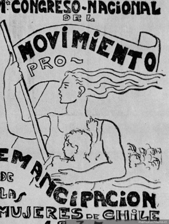 Afiche del Primer Congreso Nacional del Movimiento Pro Emancipación de las Mujeres de Chile, 1937 / Memoria Chilena