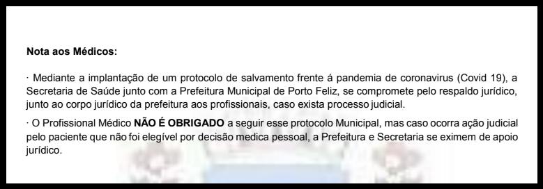 Extracto de la versión del protocolo de Porto Feliz, luego eliminado, habla de asesoramiento legal solo para quienes prescriben los medicamentos (Agencia Pública)
