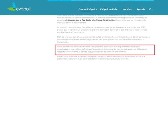 Al equipo digital de Evópoli se le olvidó renovar su sitio web con la última voltereta.