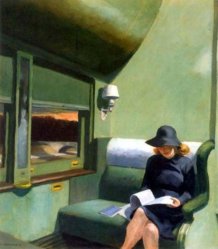 Mujer que lee en el tren, de Edward Hopper.