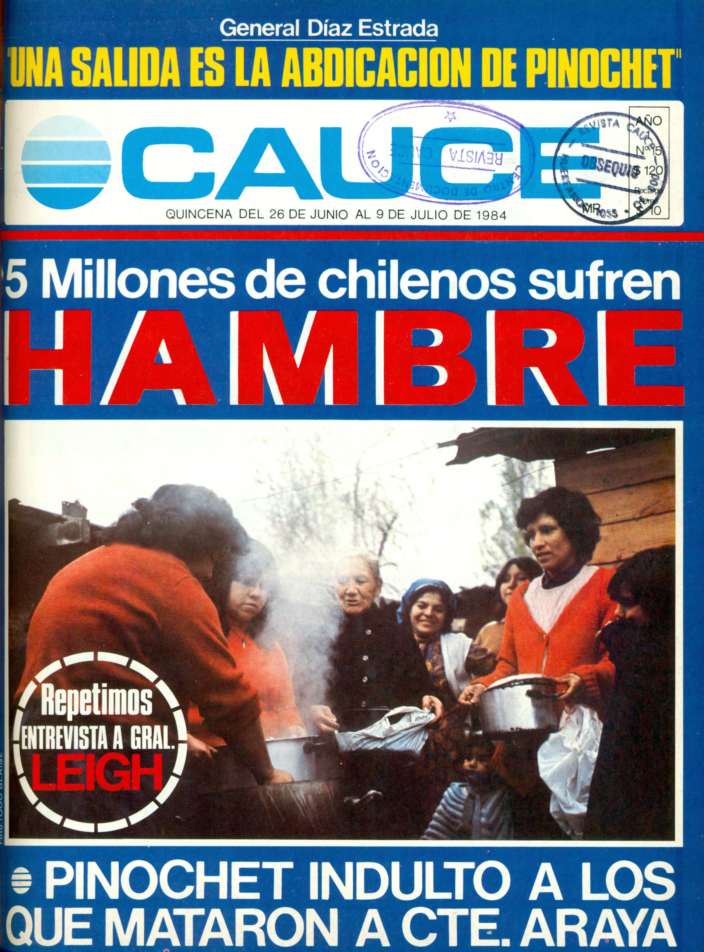 Portada de revista Cauce, junio de 1984