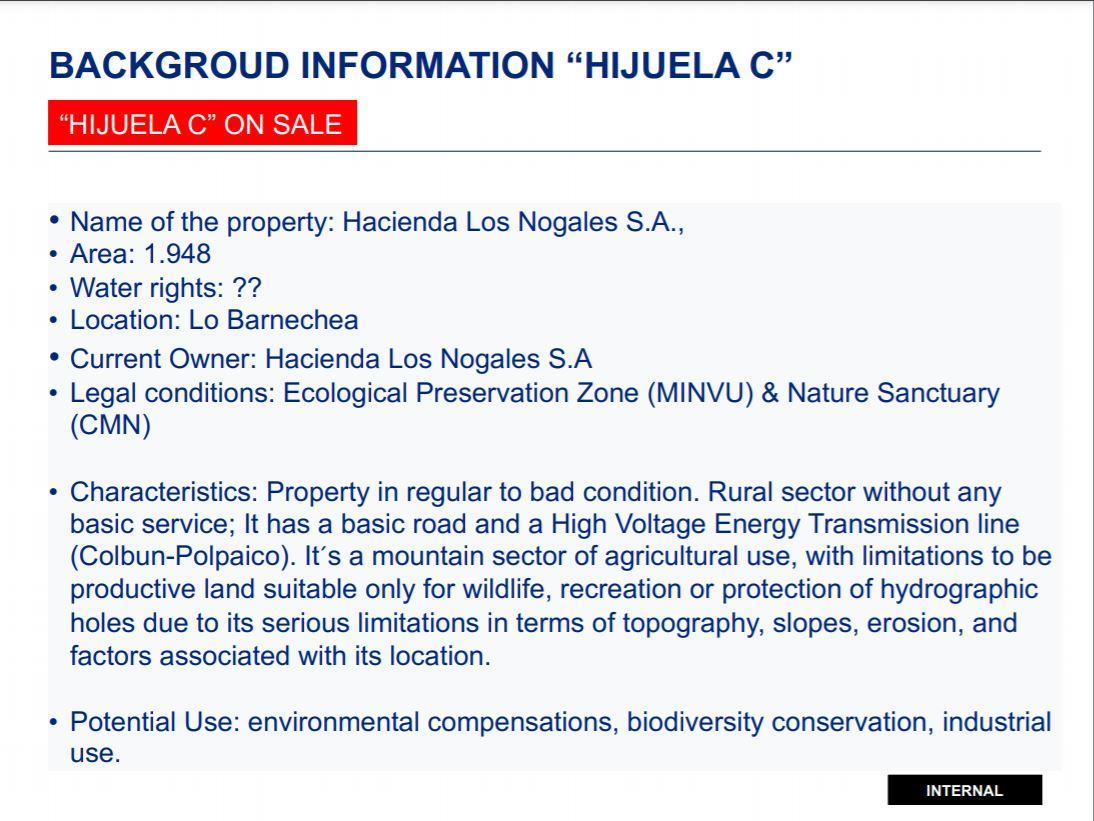 Parte de la presentación de Anglo American donde dan el uso industrial como potencial para la hijuela C